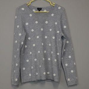 Talbots pure cashmere gray polka dot sweater